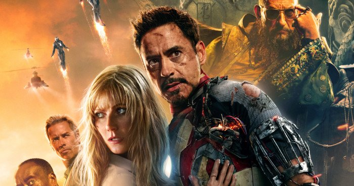 Poster du film Iron Man 3 réalisé par Shane Black avec Robert Downey Jr., Gwyneth Paltrow, Guy Pearce, Ben Kingsley et Don Cheadle