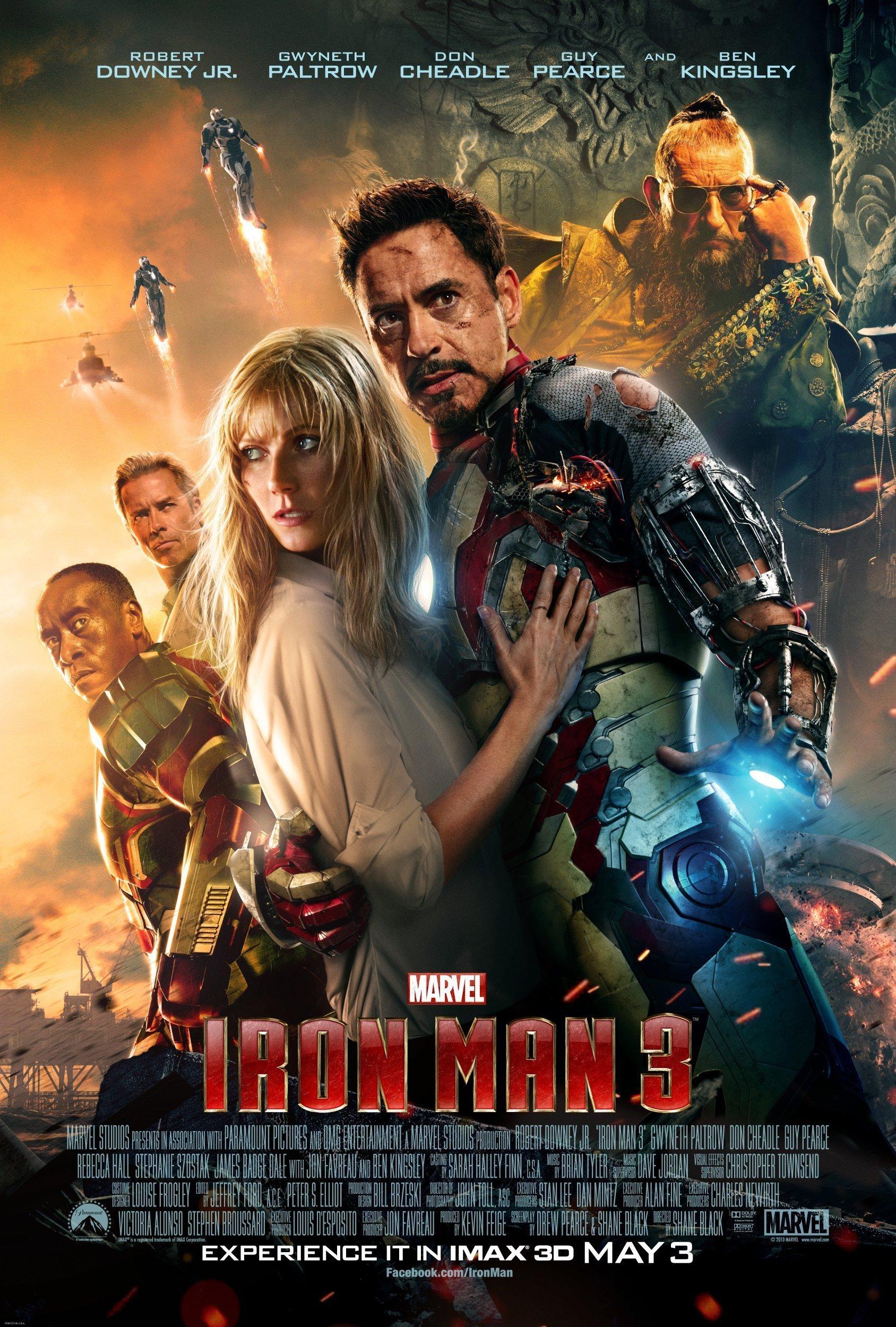 Poster du film Iron Man 3 réalisé par Shane Black avec Robert Downey Jr., Gwyneth Paltrow, Guy Pearce, Ben Kingsley et Don Cheadle
