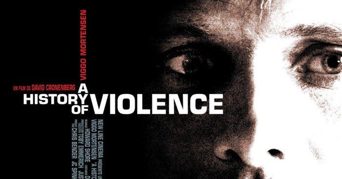 Affiche française du film A History of Violence réalisé par David Cronenberg avec Viggo Mortensen (Tom Stall), Maria Bello (Edie Stall), Ed Harris (Carl Fogarty) et William Hurt (Richie Cusack)