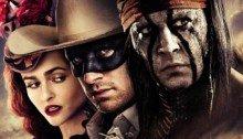 Affiche française du film Lone Ranger, Naissance d'un héros réalisé par Gore Verbinski avec Helena Bonham Carter (Red Harrington), Johnny Depp (Tonto) et Armie Hammer (The Lone Ranger)