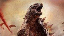 Poster sans texte du film Godzilla (2014) réalisé par Gareth Edwards sur un scénario de Max Borenstein avec le monstre de face