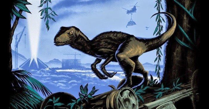 Poster variant par Mark Englert pour le film Jurassic World diffusé lors du Comic-Con 2014