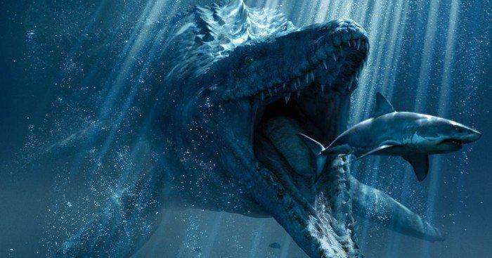 Poster du film Jurassic World réalisé par Colin Trevorrow avec le Mosasaure