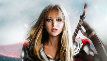 Photo parodiant les Avengers en les remplaçant par des femmes avec Jennifer Lawrence en Thor