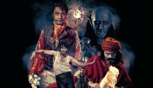 "Poster de What We Do in the Shadows avec la tagline ""Some interviews with some vampires"""