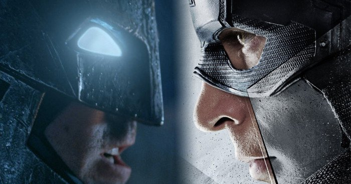 Image mélangeant Batman v Superman: L'aube de la justice et Captain America: Civil War