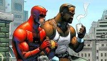 Image de Daredevil et Luke Cage en train de manger