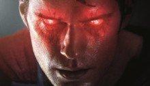 Poster de Batman v Superman: L'Aube de la Justice avec Superman aux yeux rouges