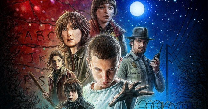 Poster old school de la saison 1 de Stranger Things