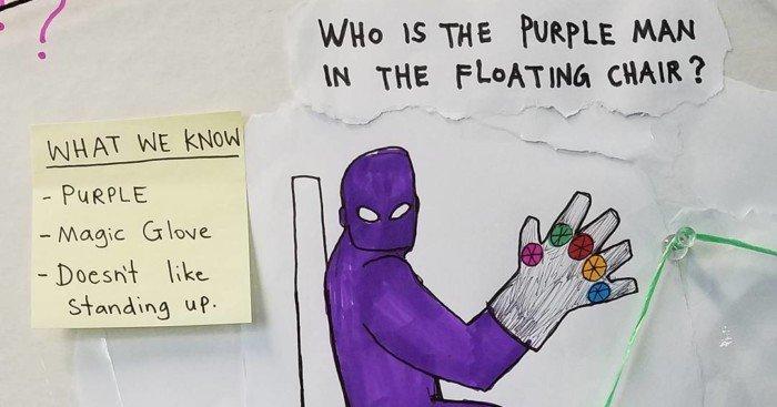 Photo de la vidéo du Comic-Con pour Thor: Ragnarok avec un dessin de Thanos