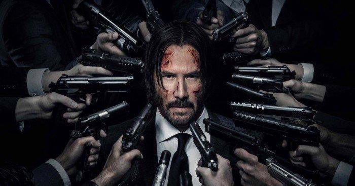 Poster de John Wick 2 avec Keanu Reeves cerné par les flingues