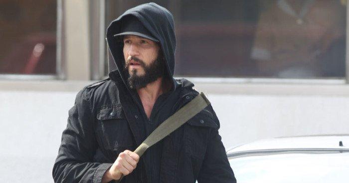 Photo du tournage de la série The Punisher avec Jon Bernthal (The Punisher) à New-York