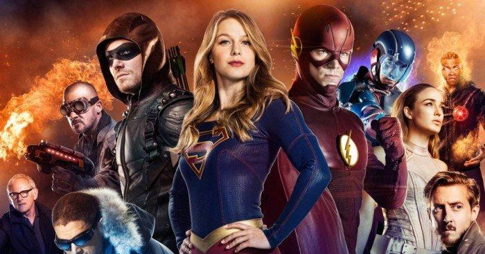 Photo du crossover Arrowverse avec Arrow, Supergirl, Flash et Legends of Tomorrow