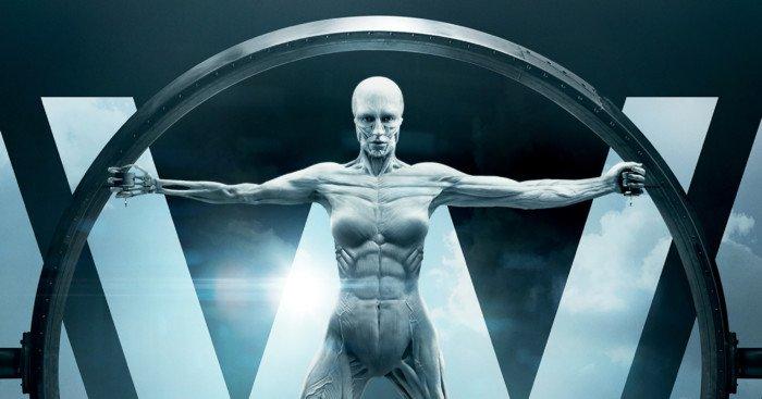 Poster de la saison 1 de Westworld avec la tagline 'Every hero has a code'