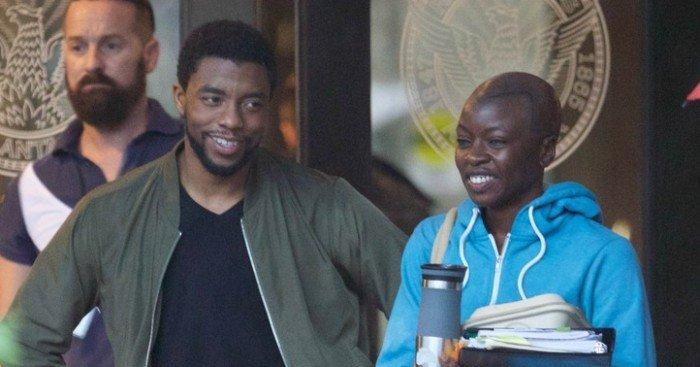 Photo du tournage de Black Panther avec Chadwick Boseman et Danai Gurira