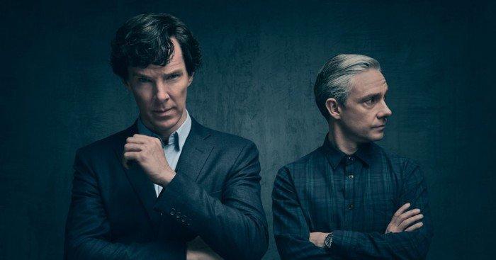Photo de la saison 4 de la série Sherlock avec Benedict Cumberbatch et Martin Freeman