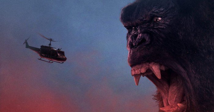 Bannière de Kong: Skull Island avec King Kong face à un hélicoptère