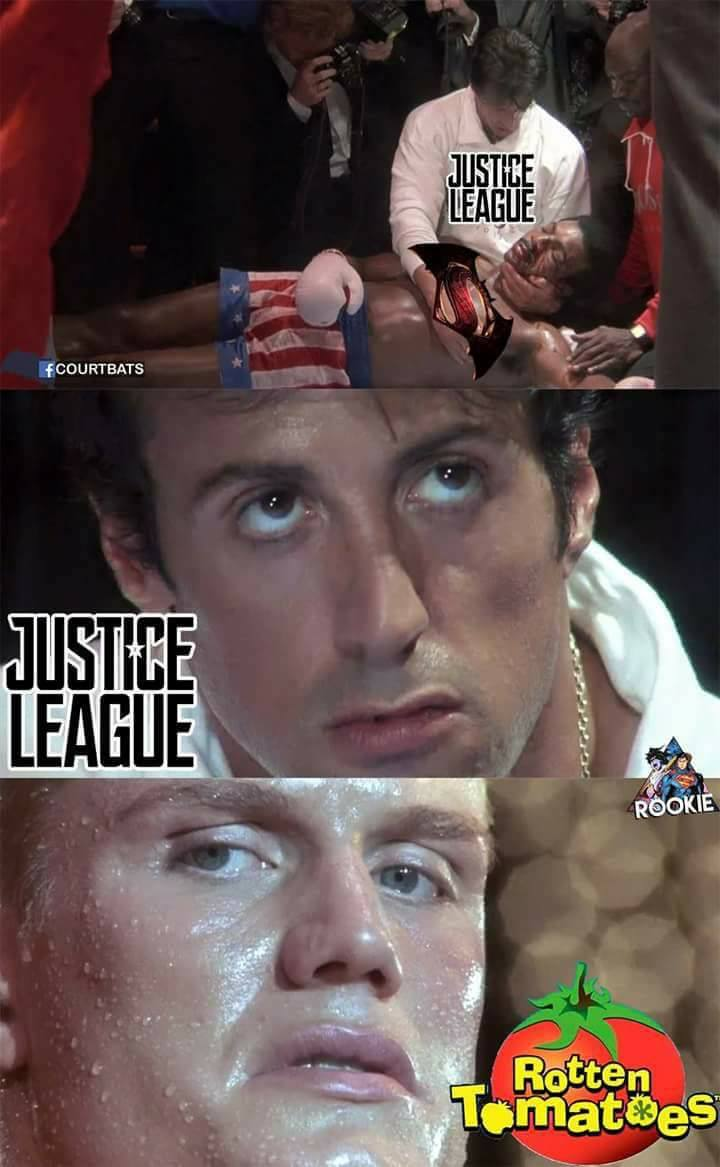 Photomontage humoristique avec Justice league face à Rotten Tomatoes en parodiant Rocky