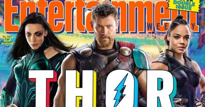 Couverture d'Entertainment Weekly pour Thor: Ragnarok avec Hela, Thor et Valkyrie