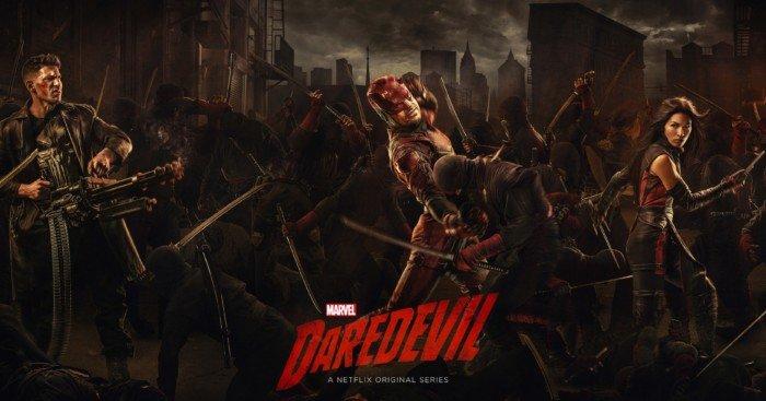 Bannière pour la saison 2 de Daredevil avec le Punisher, Daredevil et Elektra