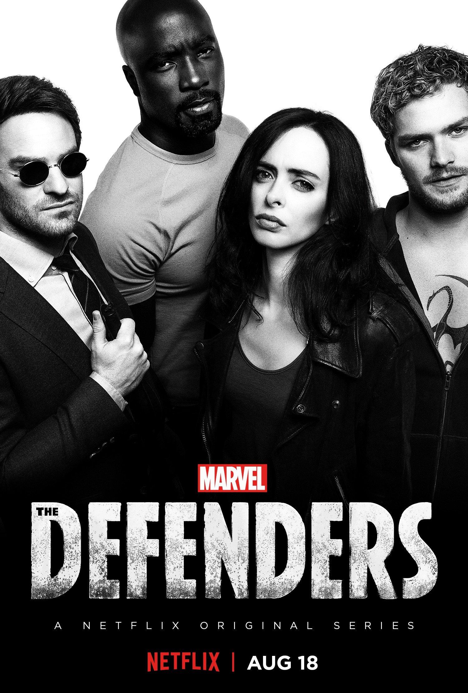 Poster de The Defenders avec Daredevil (Charlie Cox), Luke Cage (Mike Colter), Jessica Jones (Krysten Ritter) et Iron Fist (Finn Jones)