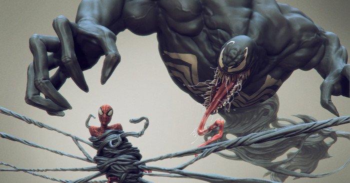 Image de Venom ayant pris Spider-Man au piège (par Daniel Bystedt).