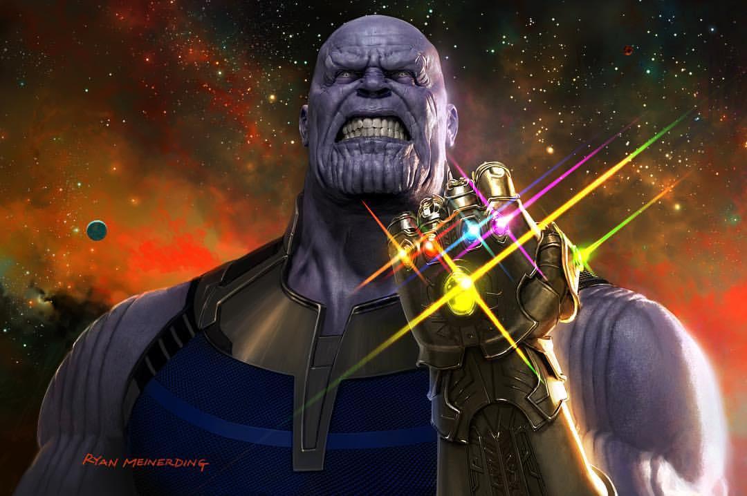 Concept art de Ryan Meinerding pour Avengers: Infinity War avec Thanos et son gant