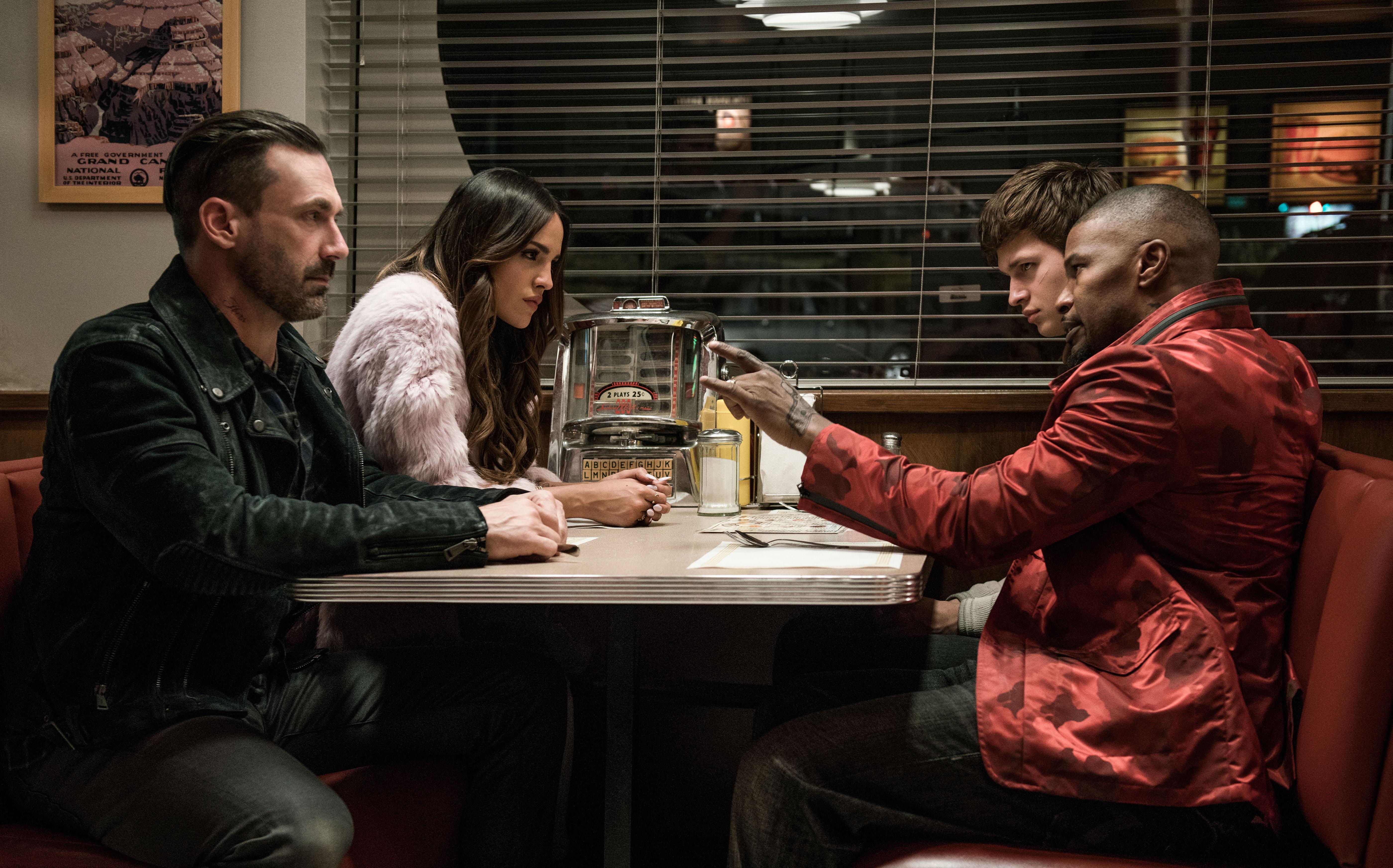 Photo du film Baby Driver avec Jon Hamm, Eiza González, Ansel Elgort et Jamie Foxx