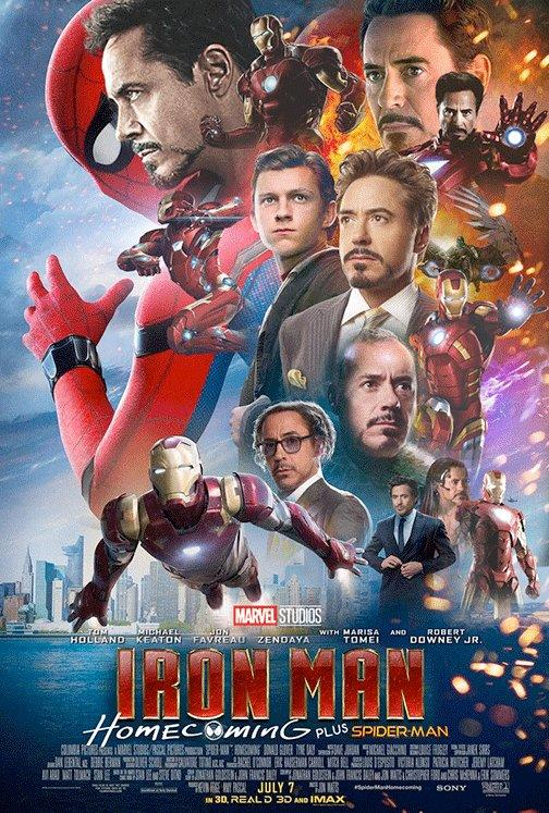 Poster humoristique d'Iron Man: Homecoming plus Spider-Man