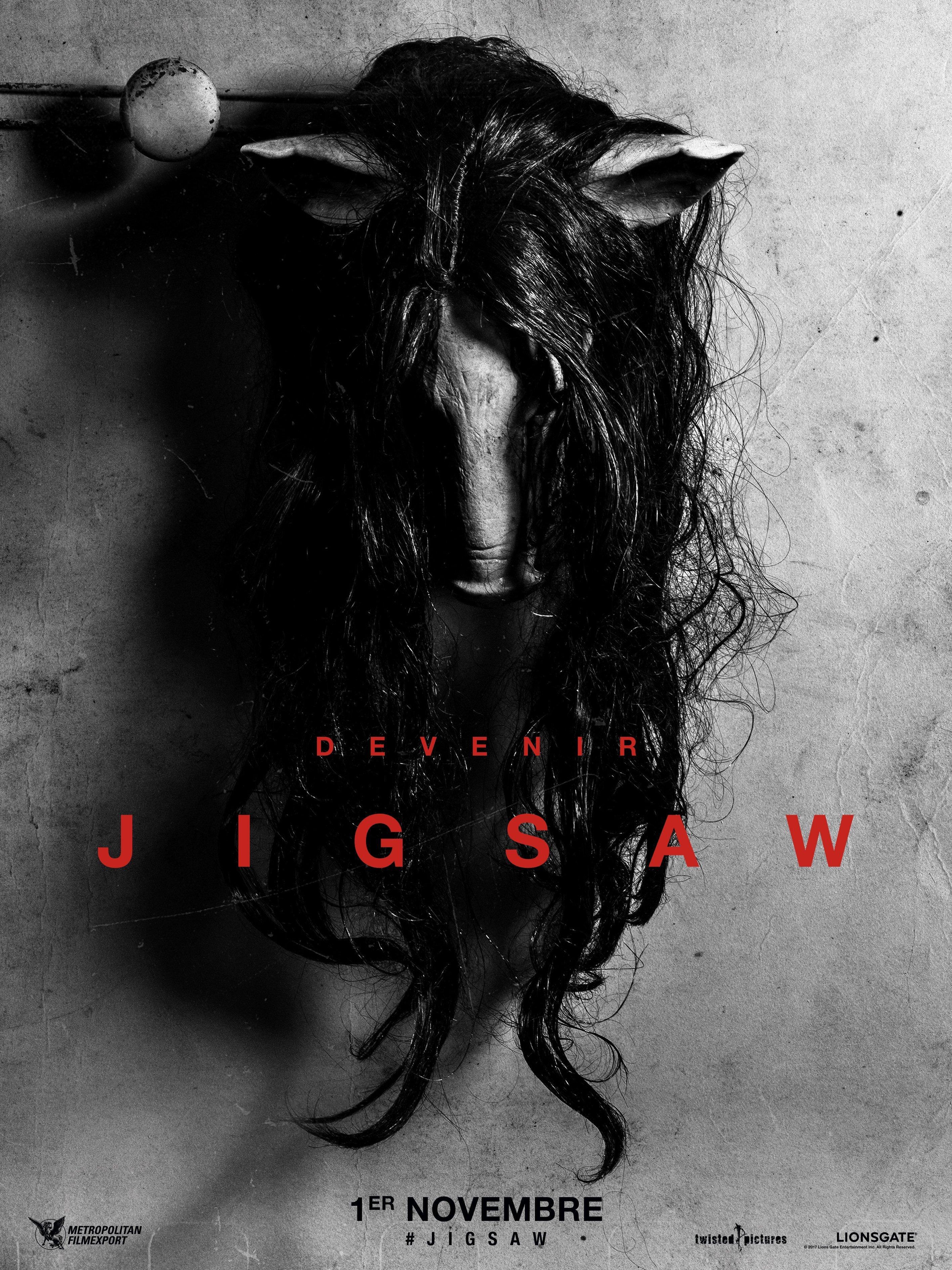 """Affiche teaser du film Jigsaw avec la tagline """"Devenir"""""""