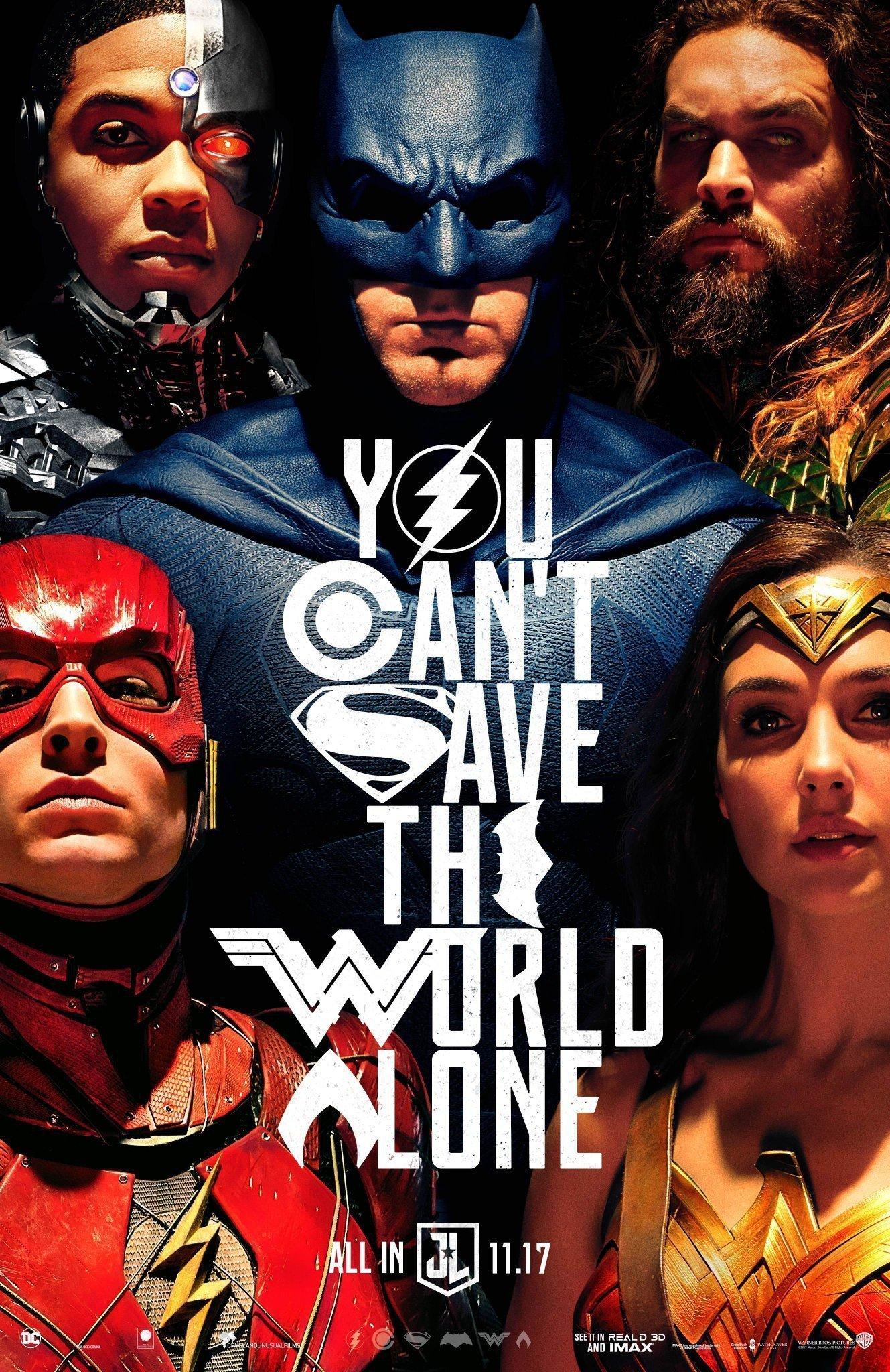 """Poster style Alex Ross pour le film Justice League avec la tagline """"You can't save the world alone"""""""
