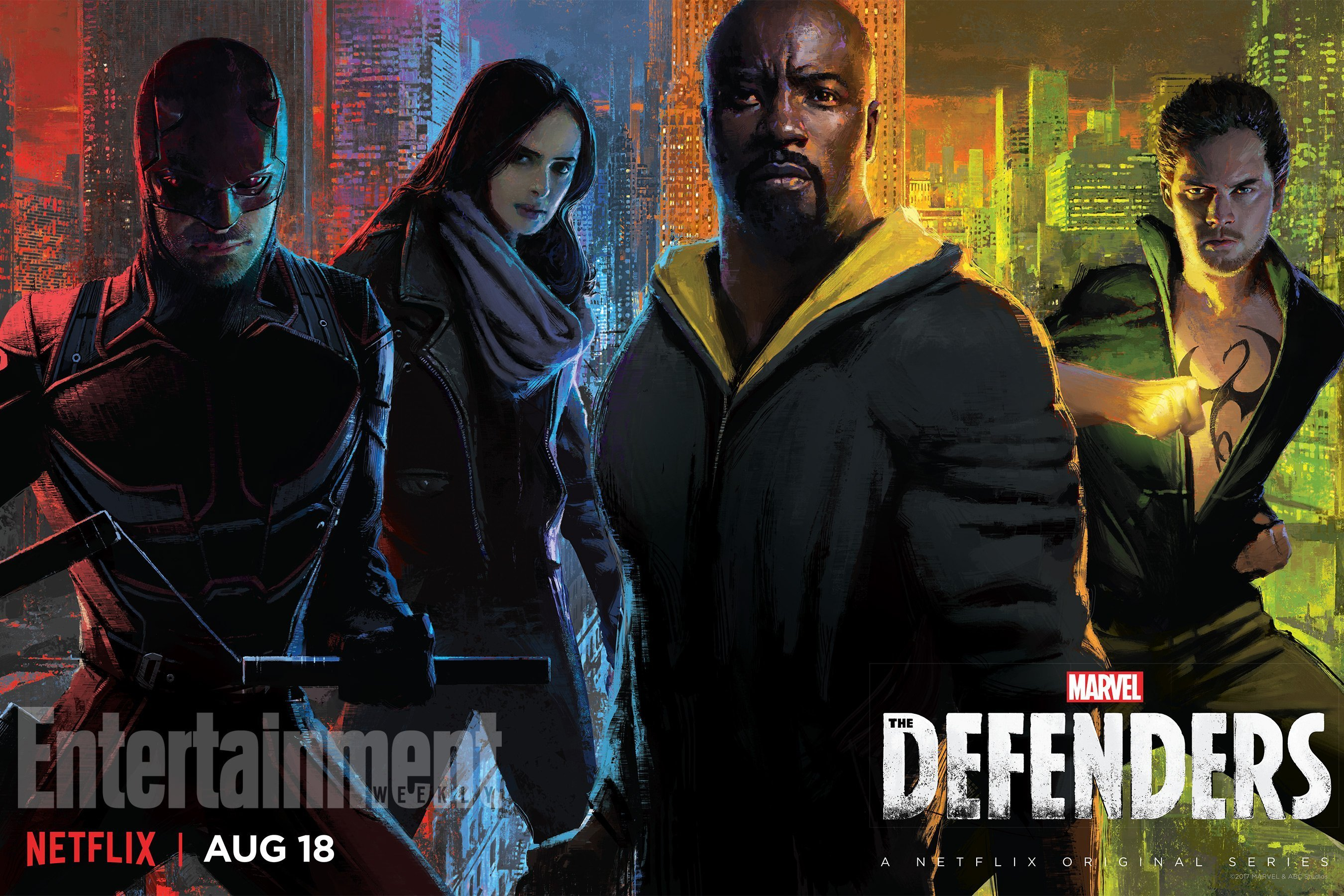 Poster de la série The Defenders par Joshua James Shaw pour la Comic-Con 2017