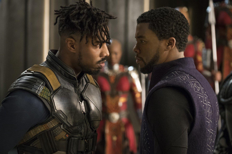 Photo du film Black Panther avec Michael B. Jordan et Chadwick Boseman
