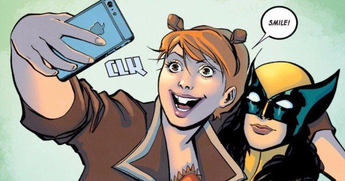 Image d'un selfie de Squirrel Girl avec Wolverine