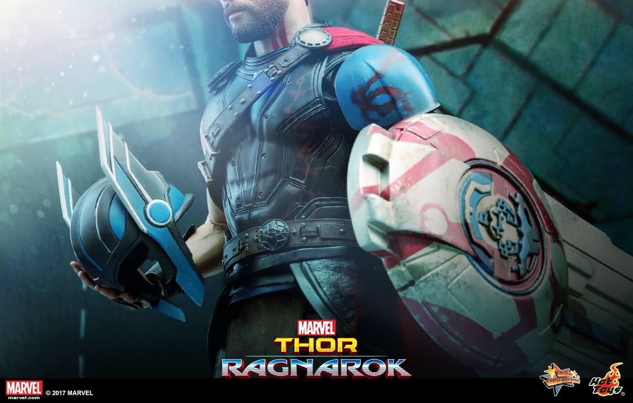 Bannière pour le film Thor: Ragnarok avec Thor équipé de son casque et d'un bouclier
