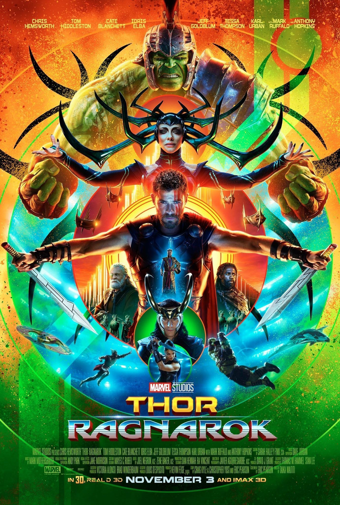 Poster teaser pour le film Thor: Ragnarok avec des cercles