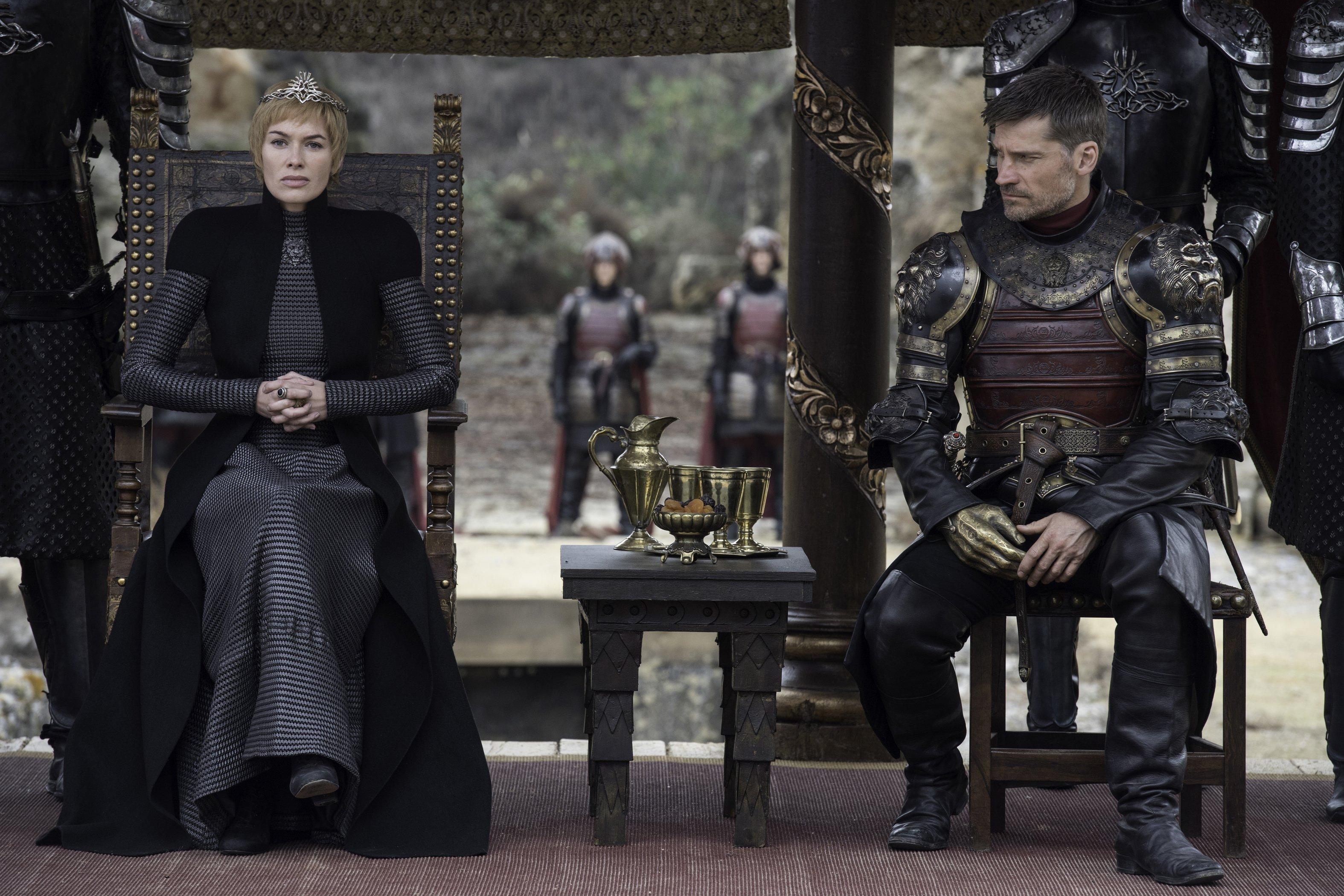 Photo de l'épisode Le Dragon et le Loup de la saison 7 de Game of Thrones avec Cersei et Jaime Lannister
