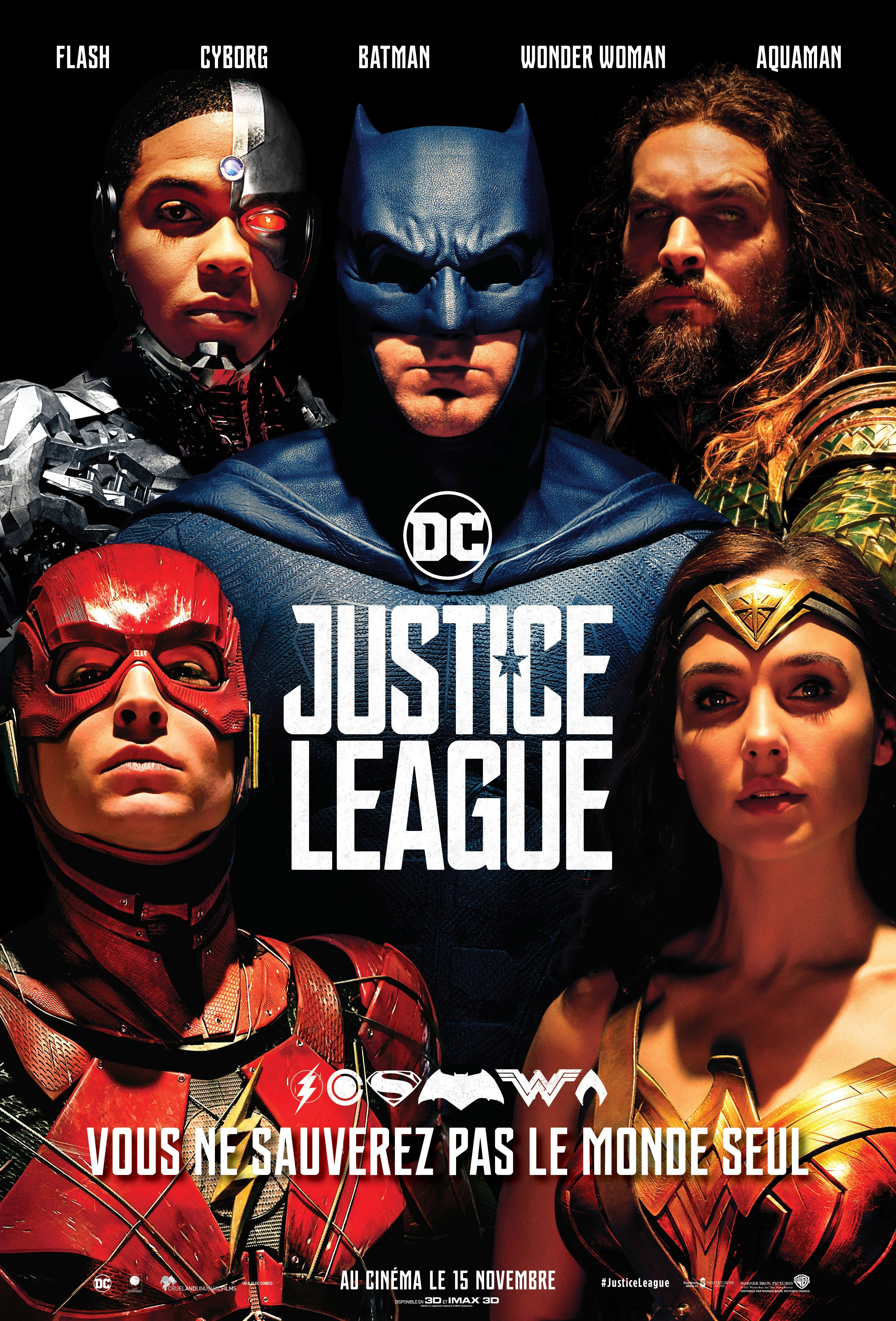 Affiche française du film Justice League avec Wonder Woman, Cyborg, Batman, Aquaman et Flash