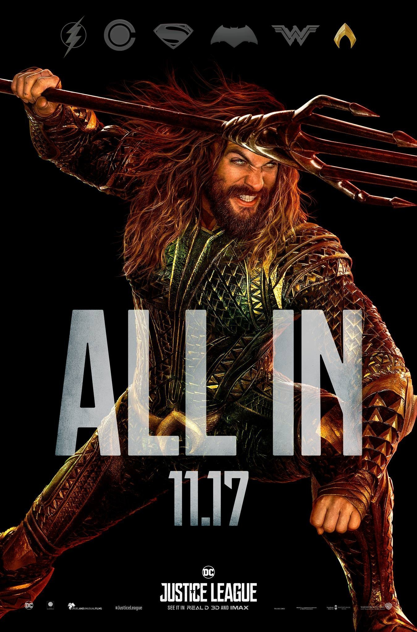 "Poster ""All in"" du film Justice League avec Aquaman"