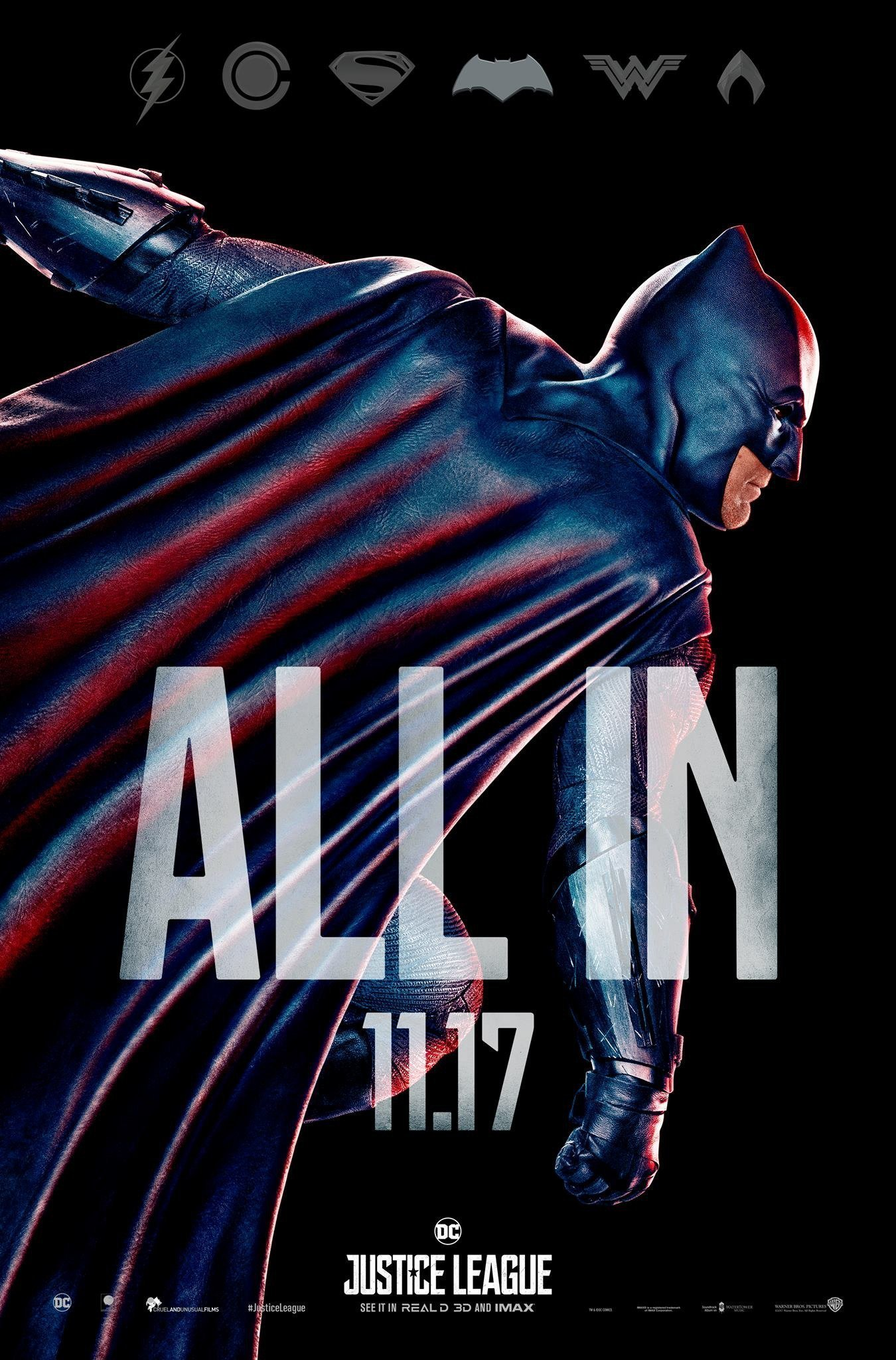 "Poster ""All in"" du film Justice League avec Batman"