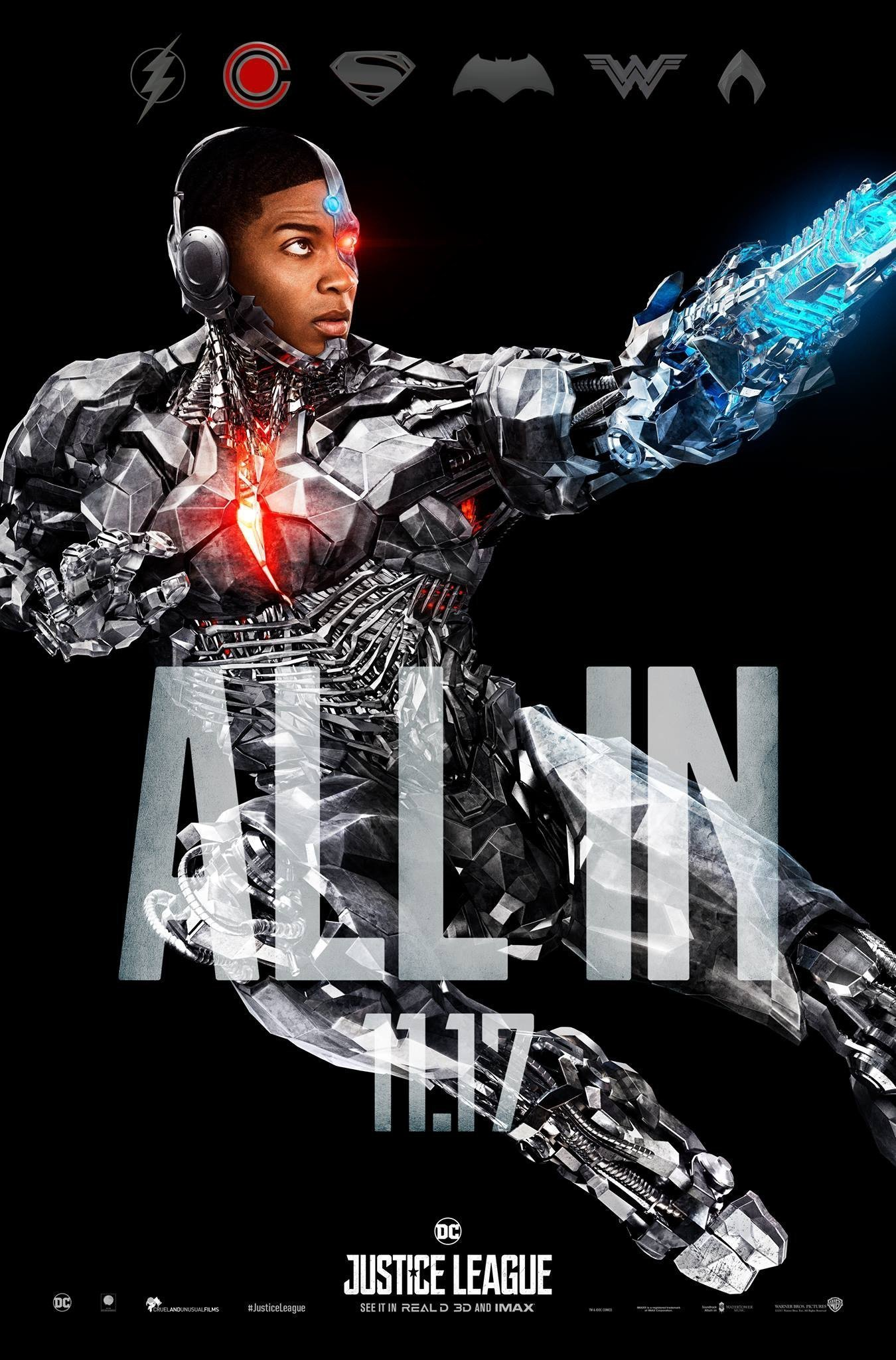 "Poster ""All in"" du film Justice League avec Cyborg"