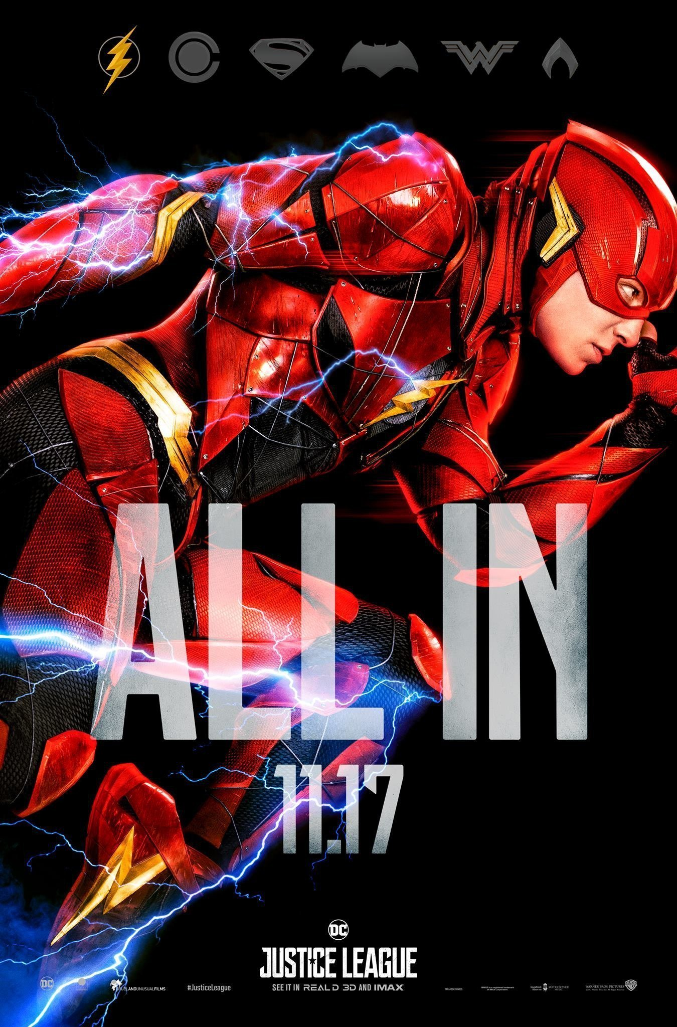 "Poster ""All in"" du film Justice League avec Flash"