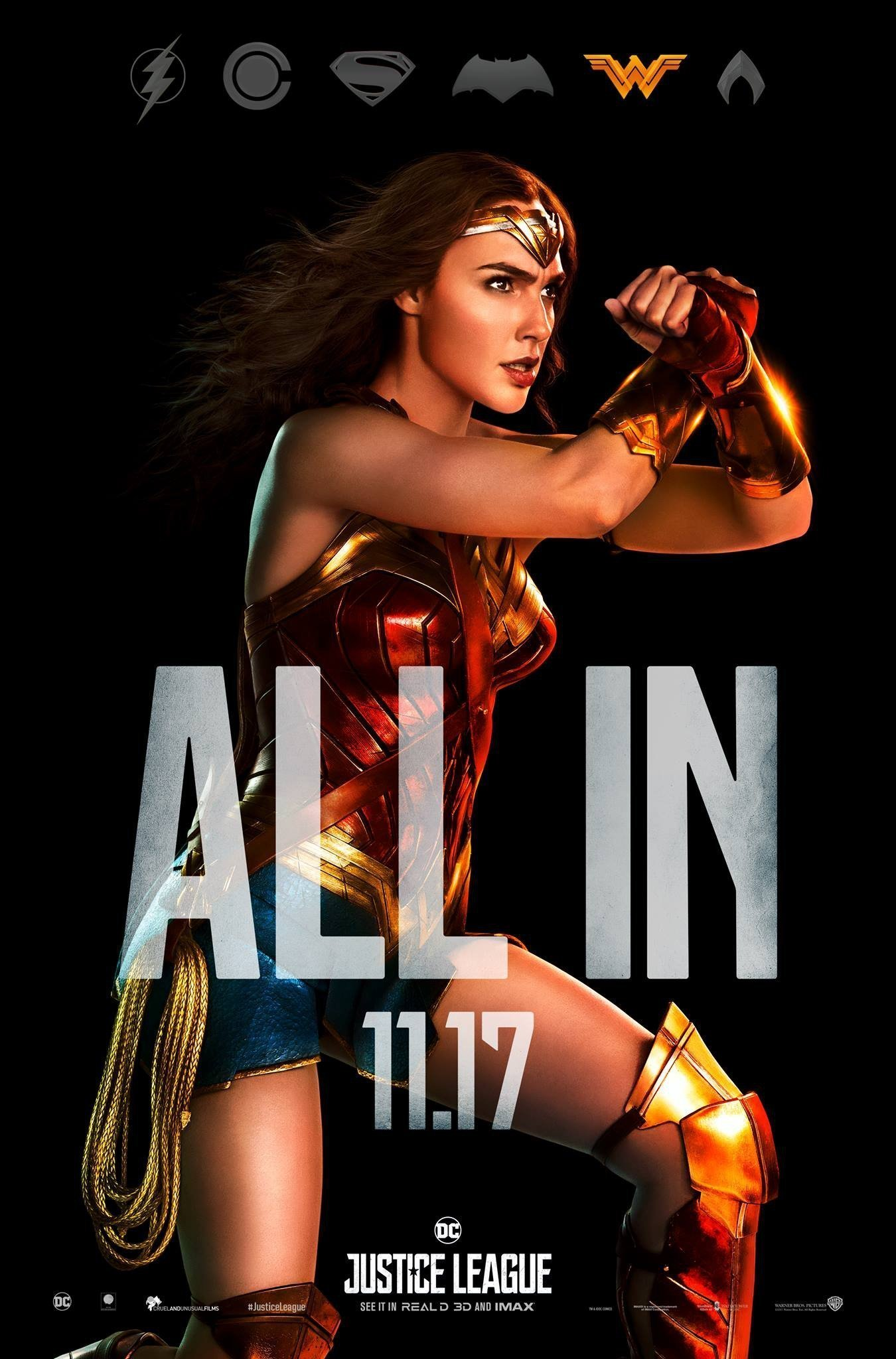 "Poster ""All in"" du film Justice League avec Wonder Woman"