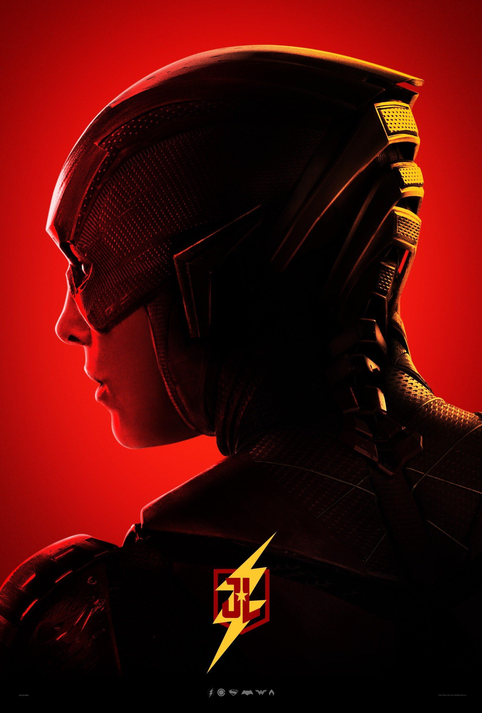 Poster rouge du film Justice League avec Flash