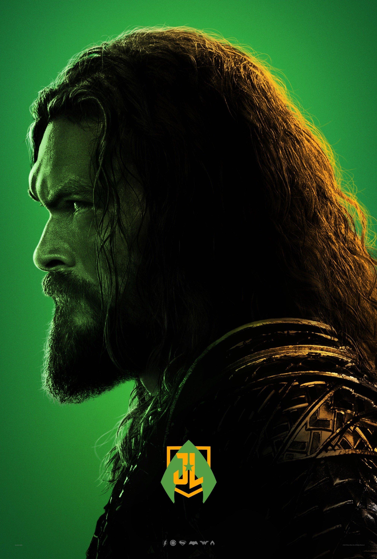 Poster vert du film Justice League avec Aquaman