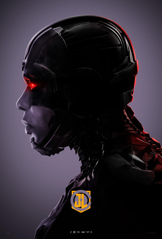 Poster violet du film Justice League avec Cyborg