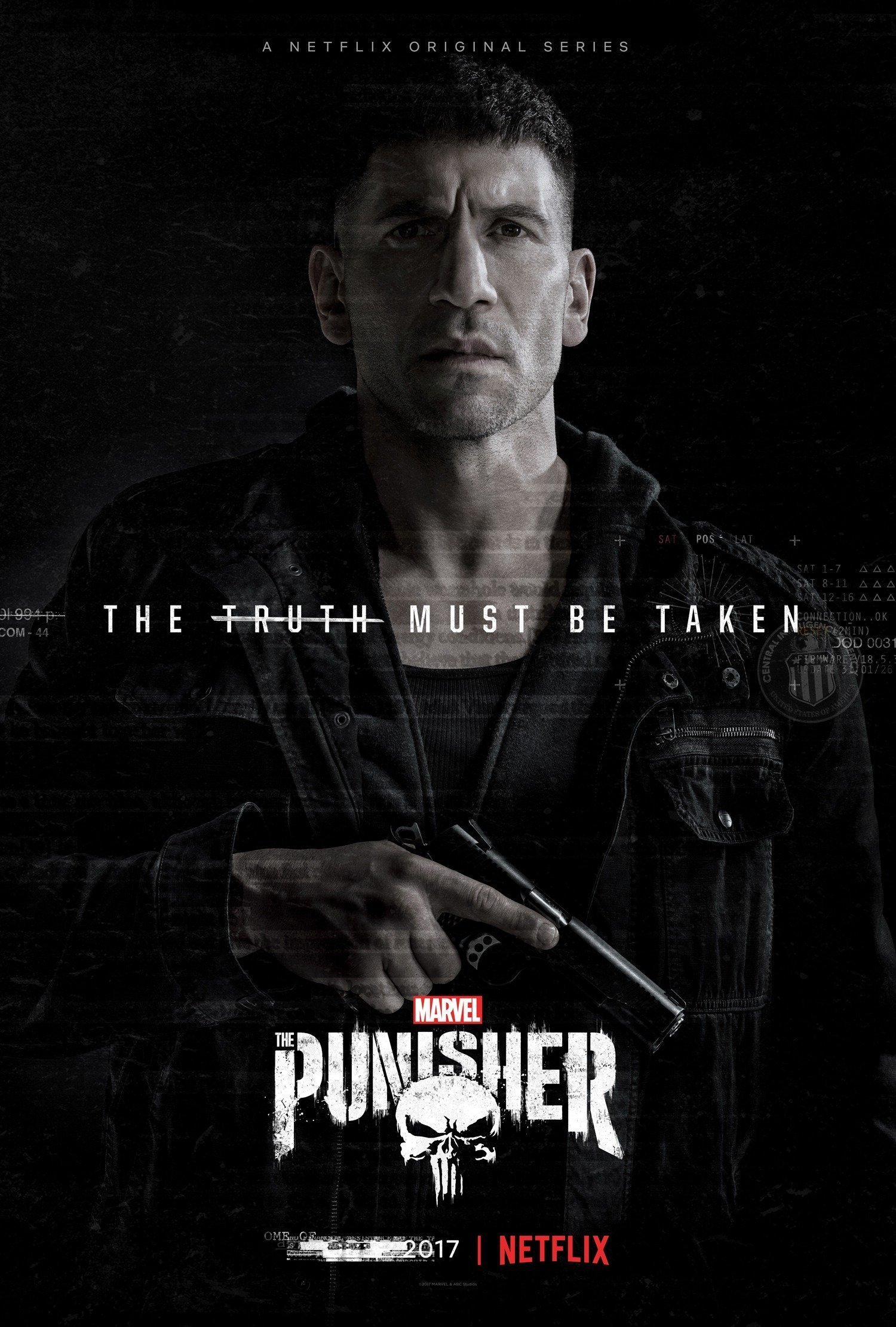 Poster de la saison 1 de la série Marvel/Netflix, The Punisher