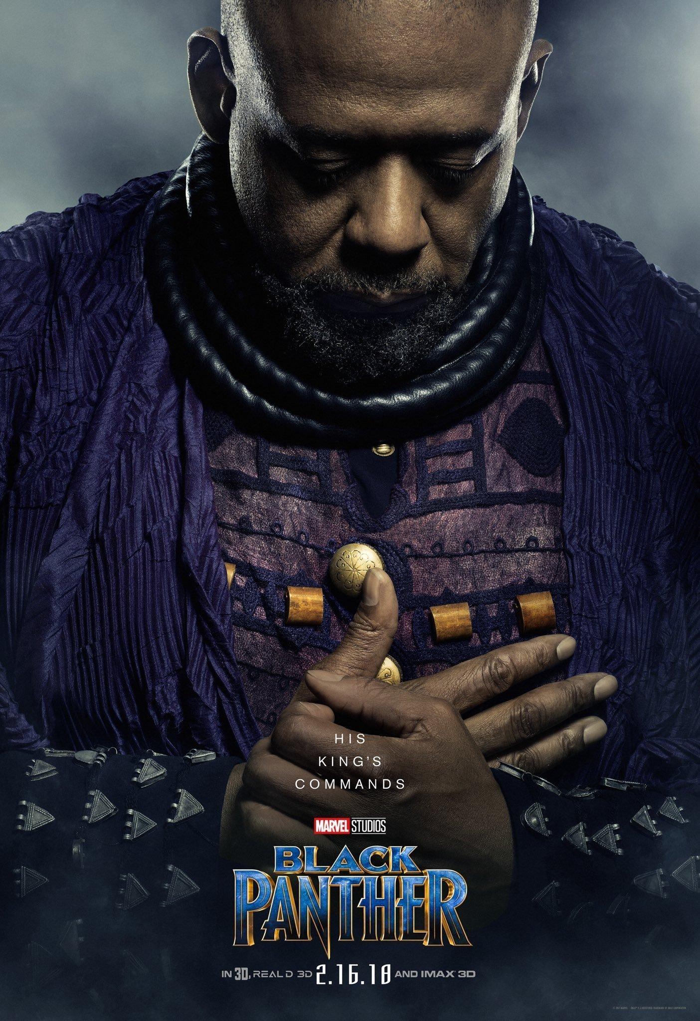 Poster du film Black Panther avec Forest Whitaker (Zuri)