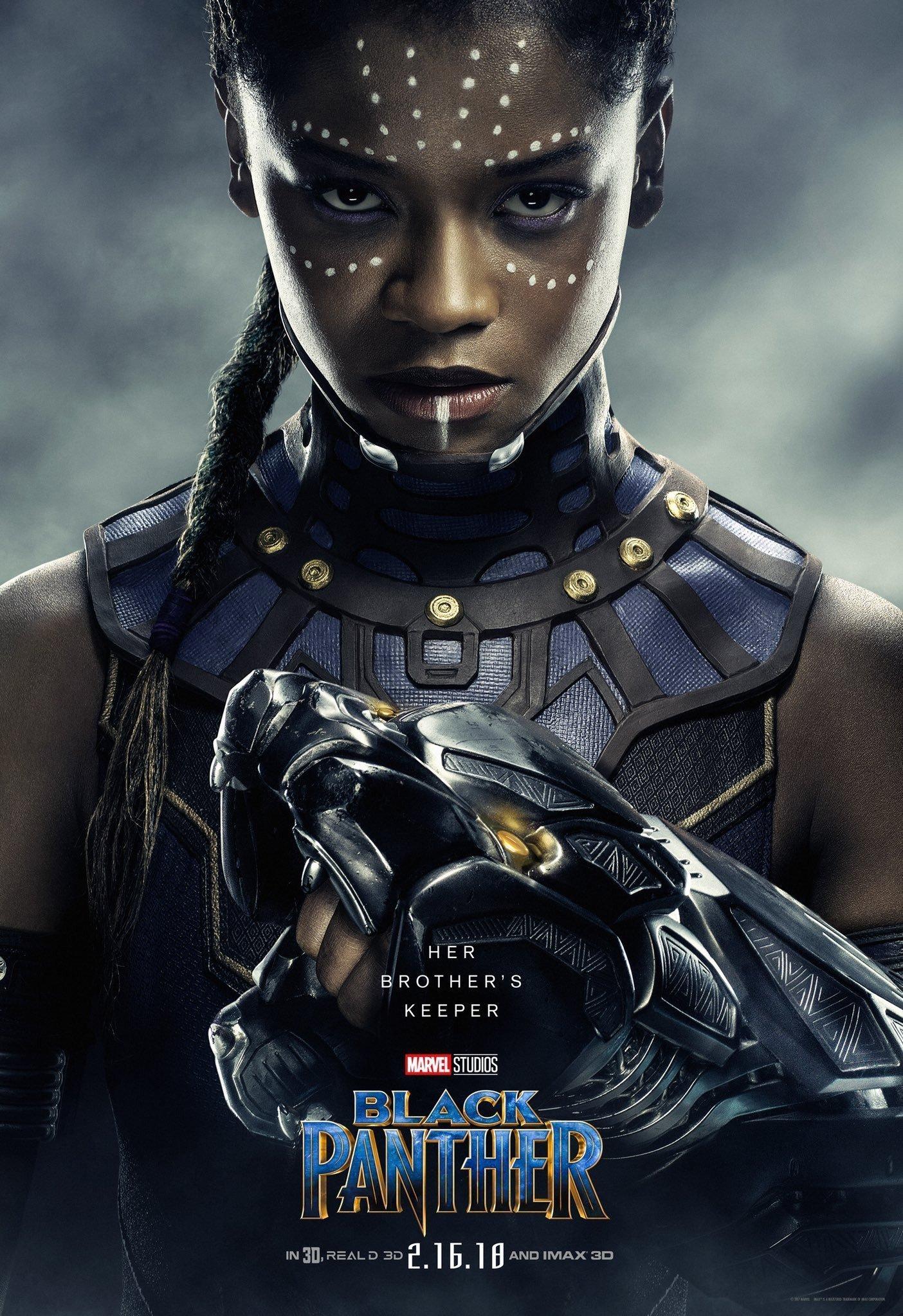 Poster du film Black Panther avec Letitia Wright (Shuri)