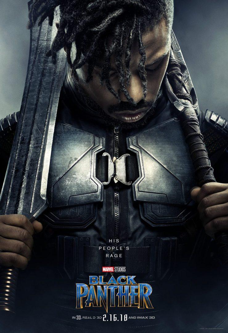 Poster du film Black Panther avec Michael B. Jordan (Erik Killmonger)